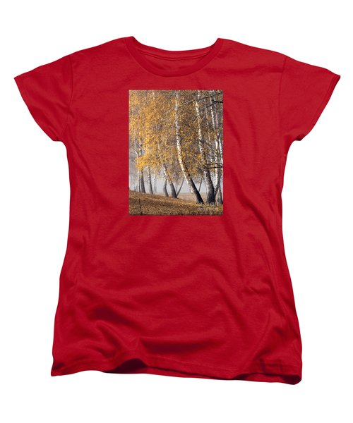 Forest With Birches In The Autumn Women's T-Shirt (Standard Cut) by Odon Czintos
