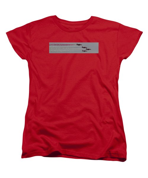 Four Red Arrows Smoke Trail - Teesside Airshow 2016 Women's T-Shirt (Standard Cut) by Scott Lyons