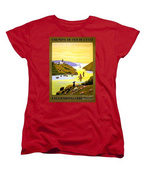 France Bretagne Vintage Travel Poster Restored Women's T-Shirt (Standard Cut) by Carsten Reisinger