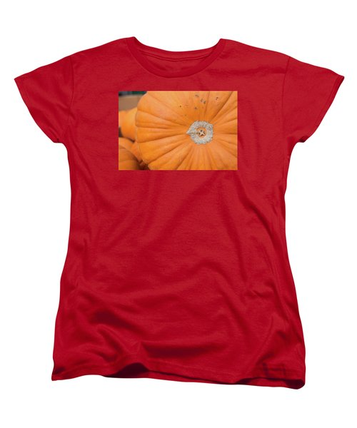 Fresh Organic Orange Giant Pumking Harvesting From Farm At Farme Women's T-Shirt (Standard Cut) by Jingjits Photography