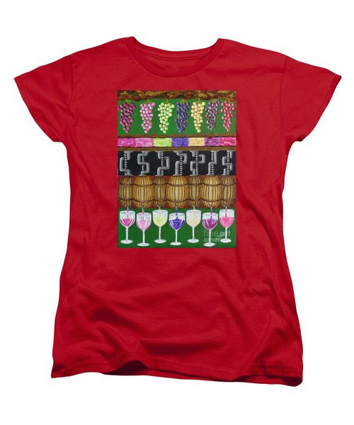 Women's T-Shirt (Standard Cut) featuring the painting From Vine To Wine by Katherine Young-Beck