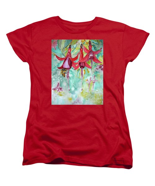 Women's T-Shirt (Standard Cut) featuring the painting  Fuchsia by Jasna Dragun