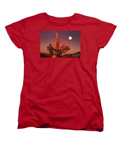 Full Moon Behind Ancient Bristlecone Pine White Mountains California Women's T-Shirt (Standard Cut)
