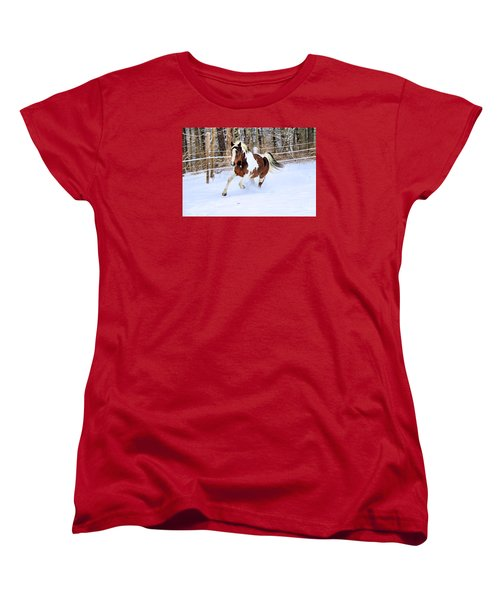 Galloping In The Snow Women's T-Shirt (Standard Cut) by Elizabeth Dow