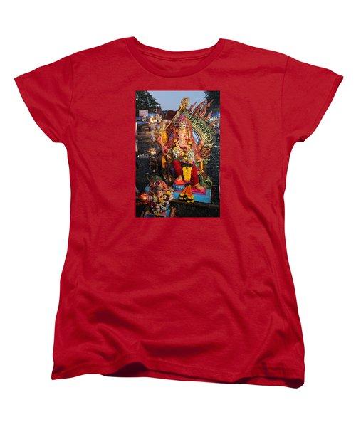 Ganesha Arati On Ganesh Chaturthi, Ganeshpuri Women's T-Shirt (Standard Cut) by Jennifer Mazzucco