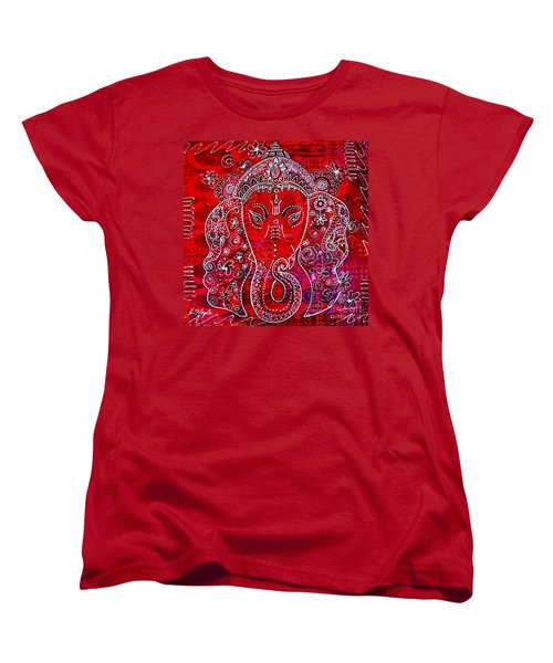 Women's T-Shirt (Standard Cut) featuring the painting Ganesha by Julie Hoyle