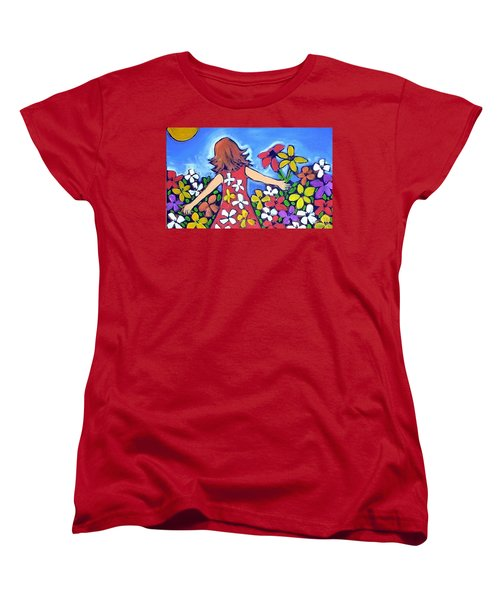 Women's T-Shirt (Standard Cut) featuring the painting Garden Of Joy by Winsome Gunning