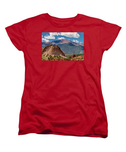 Women's T-Shirt (Standard Cut) featuring the photograph Garden Of The Gods And Pikes Peak by Bill Gallagher