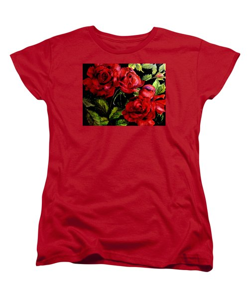Women's T-Shirt (Standard Cut) featuring the painting Garden Roses by Carol Grimes