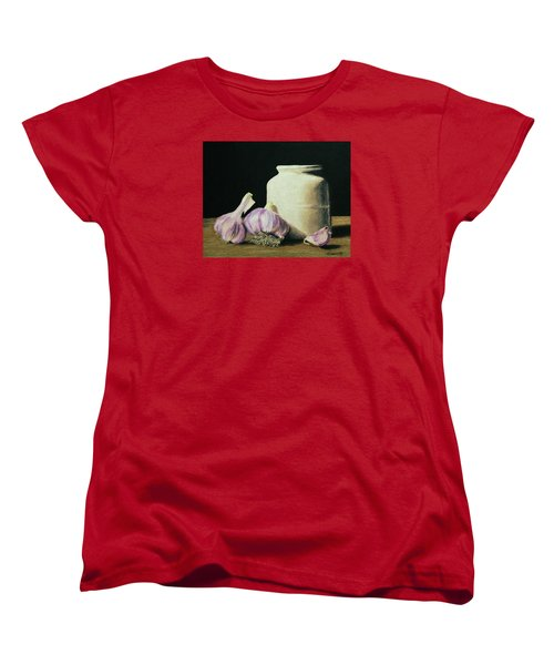 Women's T-Shirt (Standard Cut) featuring the painting Garlic Crock by Marna Edwards Flavell