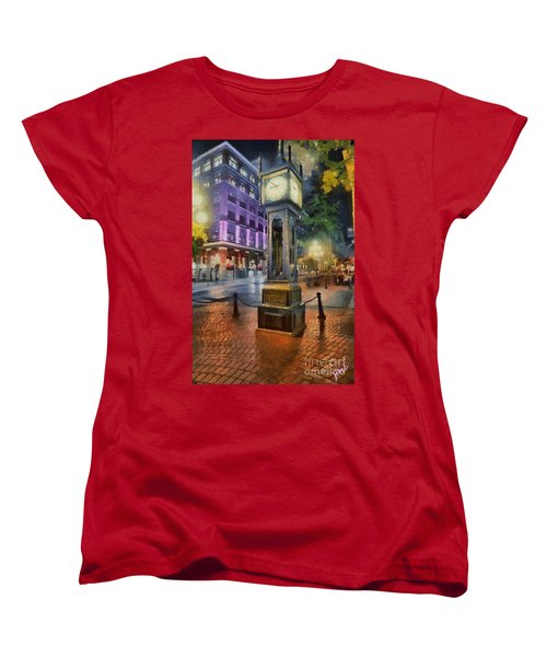 Women's T-Shirt (Standard Cut) featuring the digital art Gastown Sreamclock 1 by Jim  Hatch