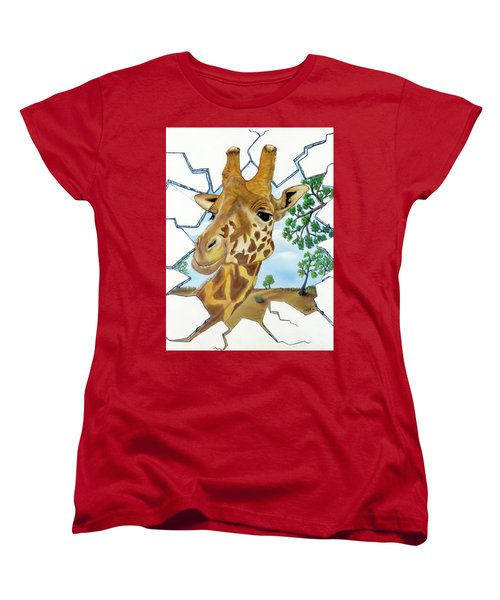 Gazing Giraffe Women's T-Shirt (Standard Cut) by Teresa Wing