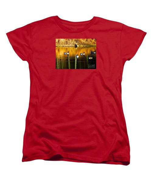 Geese On Lake Women's T-Shirt (Standard Cut) by Craig Walters