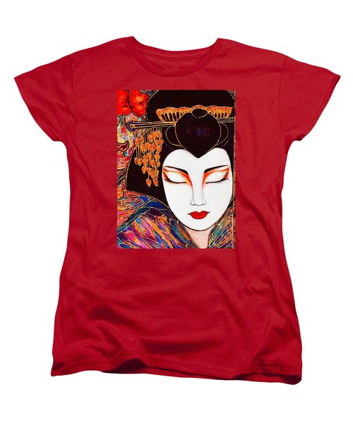 Women's T-Shirt (Standard Cut) featuring the painting Geisha by Rae Chichilnitsky