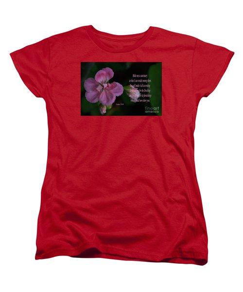 Geranium After The Rain Scripture Women's T-Shirt (Standard Cut) by Debby Pueschel