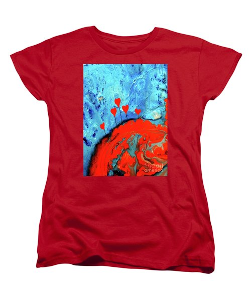 Women's T-Shirt (Standard Cut) featuring the painting Germinating Love by Saribelle Rodriguez