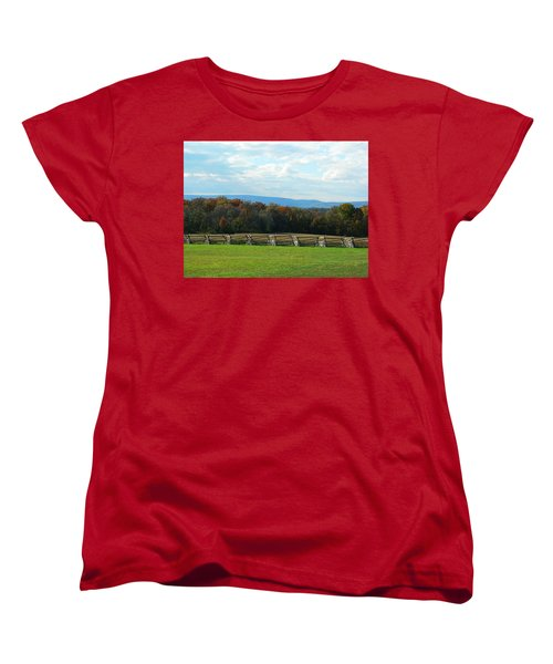 Women's T-Shirt (Standard Cut) featuring the photograph Gettysburg Battlefield And Beyond by Emmy Marie Vickers
