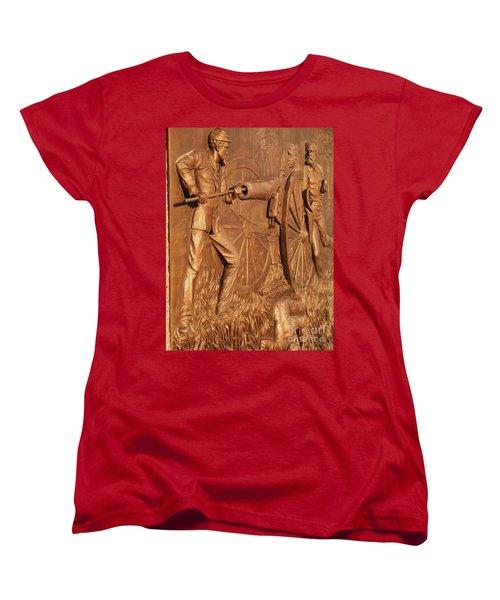 Gettysburg Bronze Relief Women's T-Shirt (Standard Cut) by Eric  Schiabor