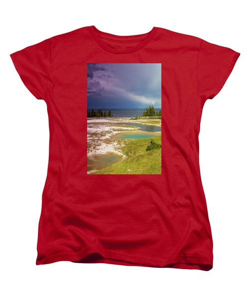 Women's T-Shirt (Standard Cut) featuring the photograph Geysers Pools by Dawn Romine