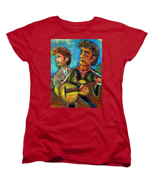 Girl From North Country Johnny Cash And Bob Dylab Women's T-Shirt (Standard Cut) by Jason Gluskin