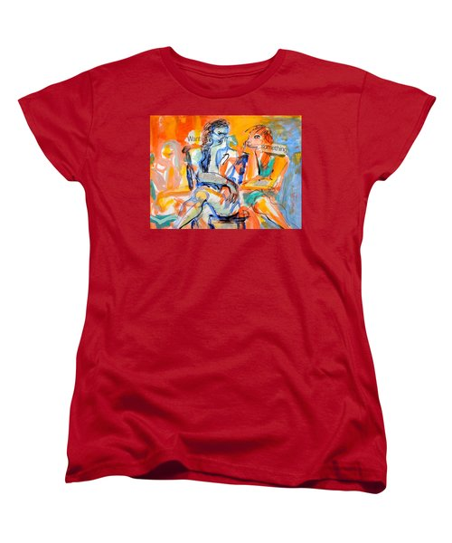 Women's T-Shirt (Standard Cut) featuring the painting Girl Talk by Mary Schiros