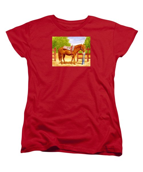 Women's T-Shirt (Standard Cut) featuring the painting Girl Talk by Stacy C Bottoms
