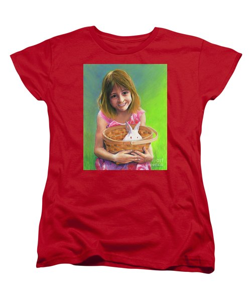 Girl With A Bunny Women's T-Shirt (Standard Cut) by Jeanette French