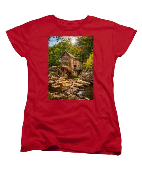 Women's T-Shirt (Standard Cut) featuring the photograph Glade Creek Mill Fall by Rebecca Hiatt