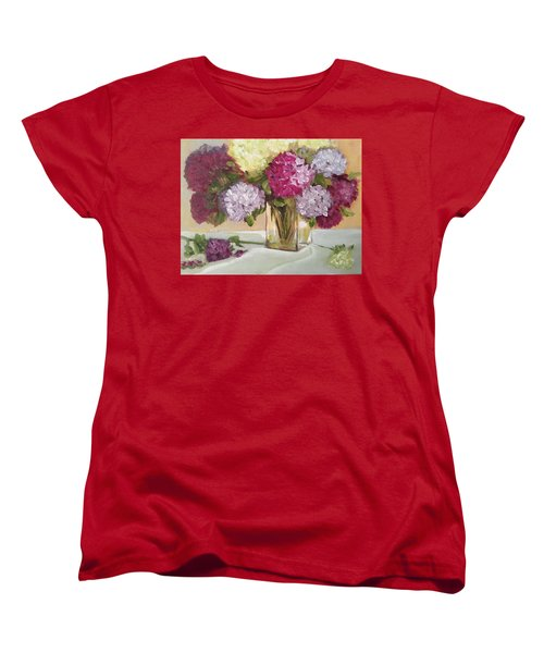 Women's T-Shirt (Standard Cut) featuring the painting Glass Vase by Sharon Schultz