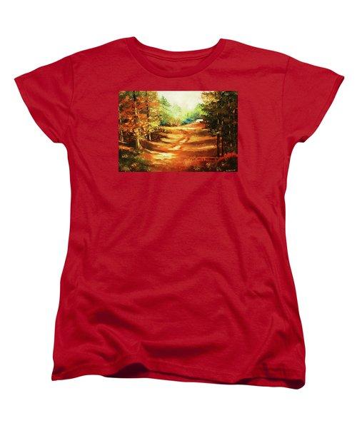 Glory Road In Autumn Women's T-Shirt (Standard Cut) by Al Brown