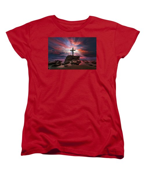 God Is My Rock Special Edition Fine Art Women's T-Shirt (Standard Cut) by Justin Kelefas
