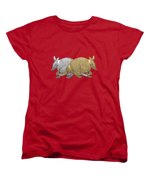 Women's T-Shirt (Standard Cut) featuring the digital art Gold And Silver Armadillo On Red Canvas by Serge Averbukh