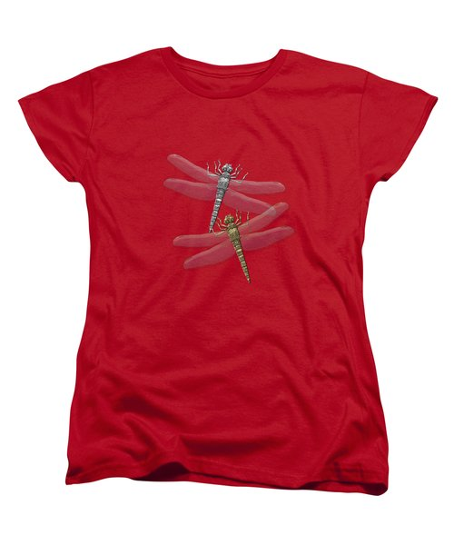 Women's T-Shirt (Standard Cut) featuring the digital art Gold And Silver Dragonflies On Red Canvas by Serge Averbukh