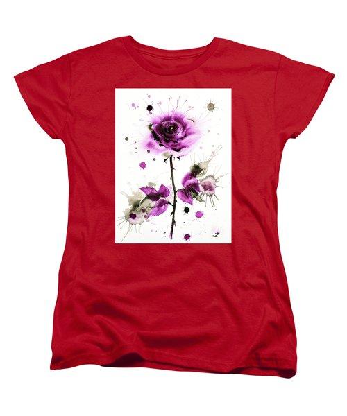 Gold Heart Of The Rose Women's T-Shirt (Standard Cut) by Zaira Dzhaubaeva