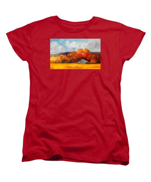 Golden Autumn Blue Country Horse Barn Women's T-Shirt (Standard Cut)