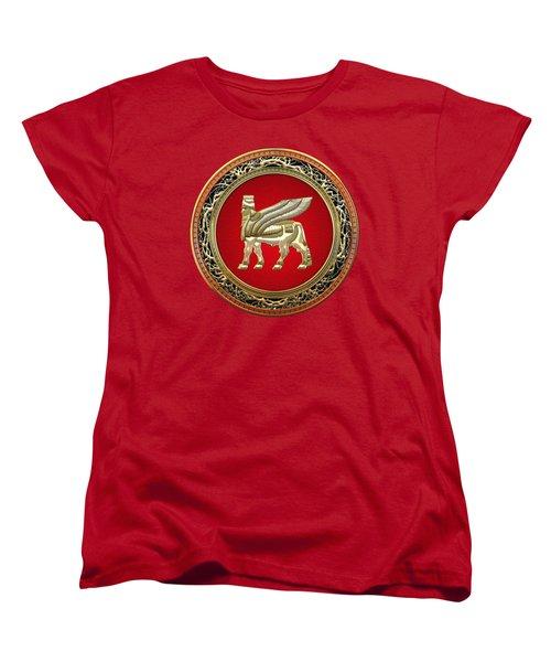 Golden Babylonian Winged Bull  Women's T-Shirt (Standard Cut) by Serge Averbukh