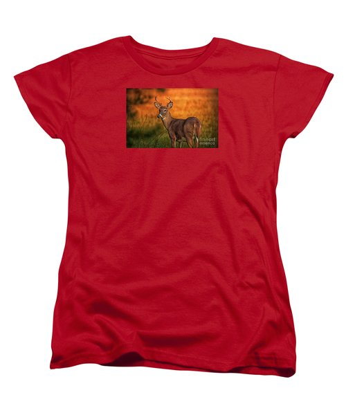 Golden Buck Women's T-Shirt (Standard Cut) by Geraldine DeBoer