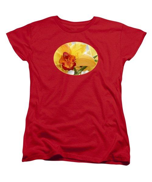 Golden Cymbidium Orchid Women's T-Shirt (Standard Cut) by Gill Billington