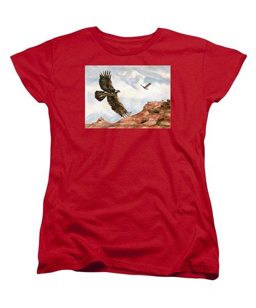 Golden Eagles In Fligh Women's T-Shirt (Standard Cut) by Sam Sidders