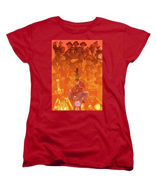Women's T-Shirt (Standard Cut) featuring the digital art Golden Era Icons Collage 1 by Nelson dedos Garcia