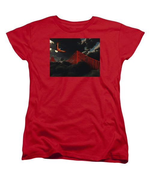 Golden Gate Bridge In Heavy Fog Clouds With Eagle Women's T-Shirt (Standard Cut) by Bruce Rolff