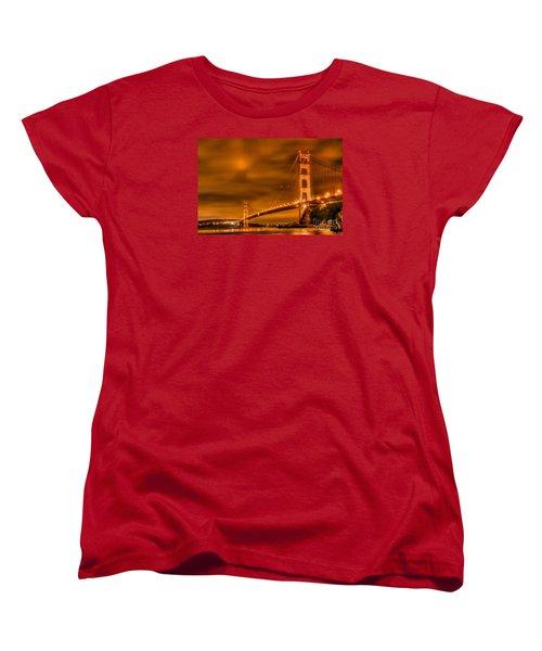 Women's T-Shirt (Standard Cut) featuring the photograph Golden Gate Bridge - Nightside by Jim Carrell