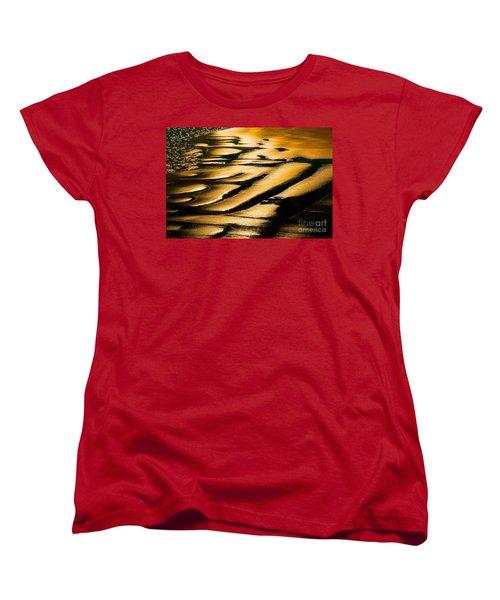 Golden Light On The Wet Sand, Point Reyes National Seashore Mar Women's T-Shirt (Standard Cut) by Wernher Krutein