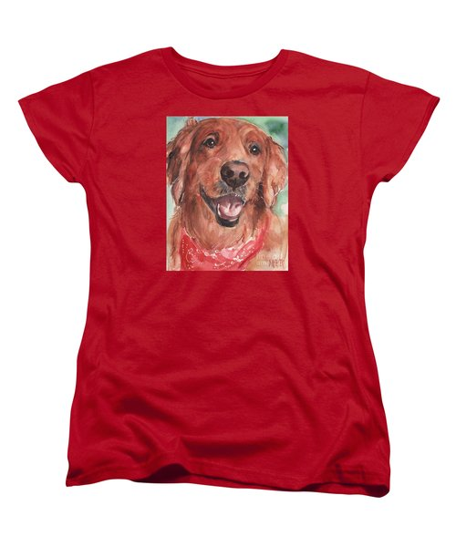 Golden Retriever Dog In Watercolori Women's T-Shirt (Standard Fit)