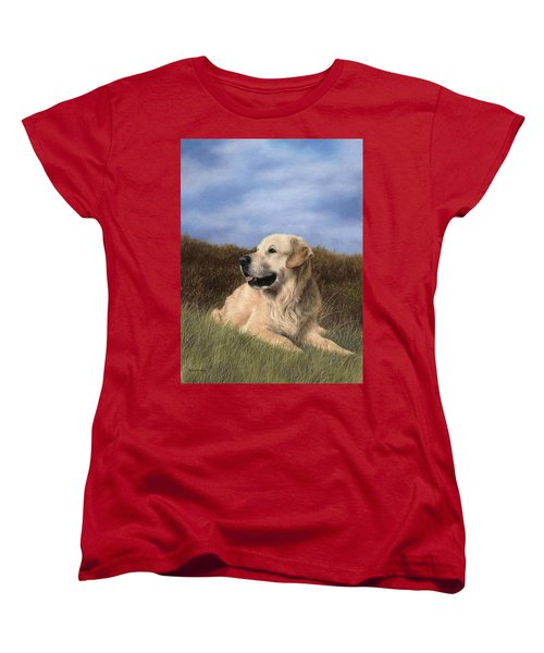 Golden Retriever Painting Women's T-Shirt (Standard Cut) by Rachel Stribbling