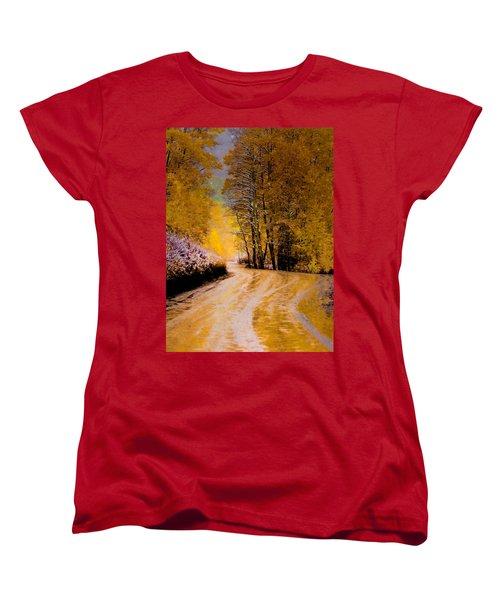 Women's T-Shirt (Standard Cut) featuring the photograph Golden Road by Kristal Kraft