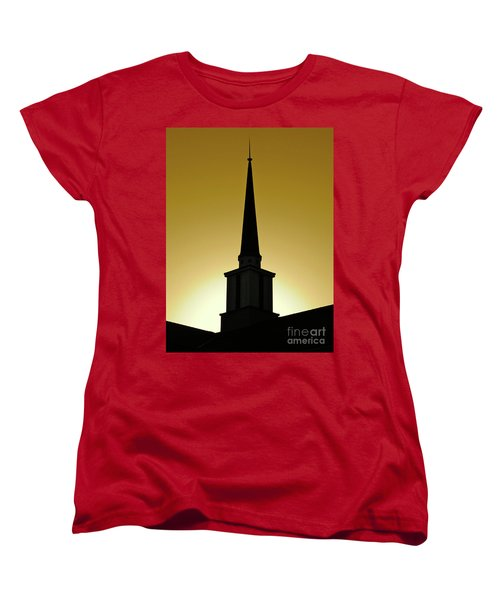 Women's T-Shirt (Standard Cut) featuring the photograph Golden Sky Steeple by CML Brown
