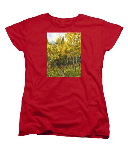 Women's T-Shirt (Standard Cut) featuring the painting Golden Solitude by Anne Gifford