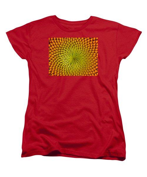 Women's T-Shirt (Standard Cut) featuring the photograph Golden Sunflower Eye by Chris Berry