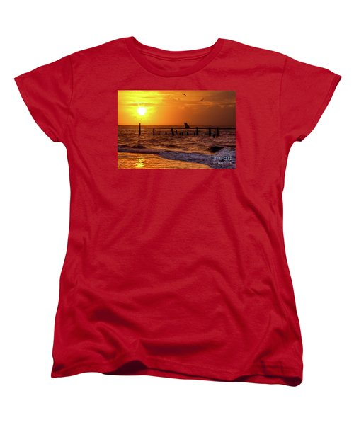 Women's T-Shirt (Standard Cut) featuring the photograph Golden Sunrise On The Outer Banks by Dan Carmichael